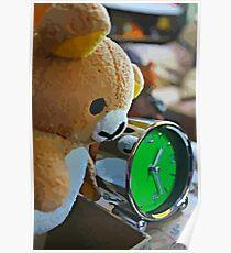 Cute Green Clock Time with Brown Teddy Bear #3. Animal, Cartoon, Art, Child, Fun. Poster