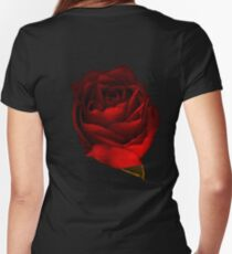 Red Rose Women's Fitted V-Neck T-Shirt