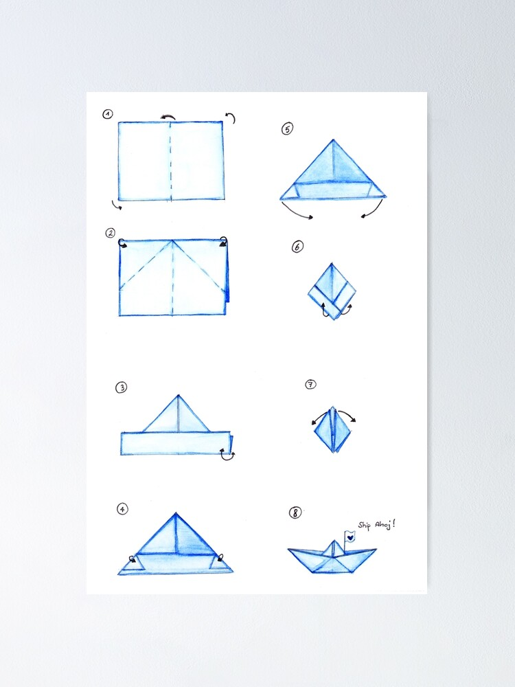 Poster Tutoriel Bateau Origami Par Naimikado Redbubble