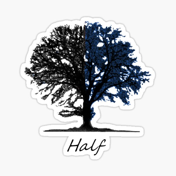 Half blue and black tree design Sticker