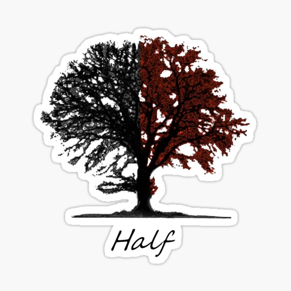 Half autumn colored tree with title Sticker