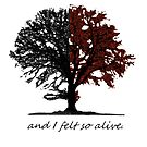 Half autumn colored tree with quote by Eli Lang