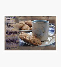 Grandma's Coffee Cookies (recipe) w/ white border Photographic Print