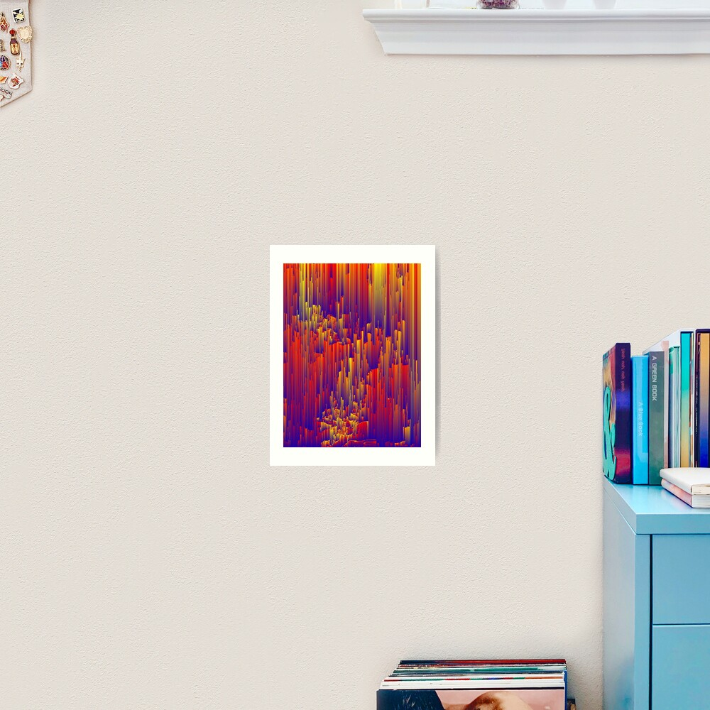 Fiery Rain - Pixel Abstract Art Art Print