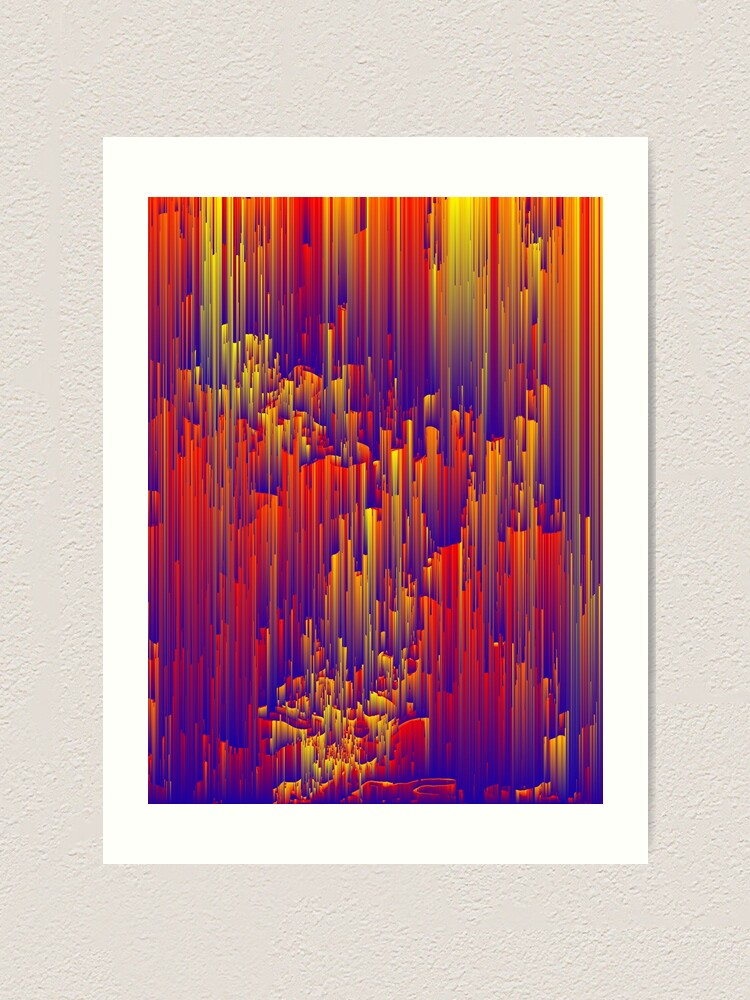 Alternate view of Fiery Rain - Pixel Abstract Art Art Print