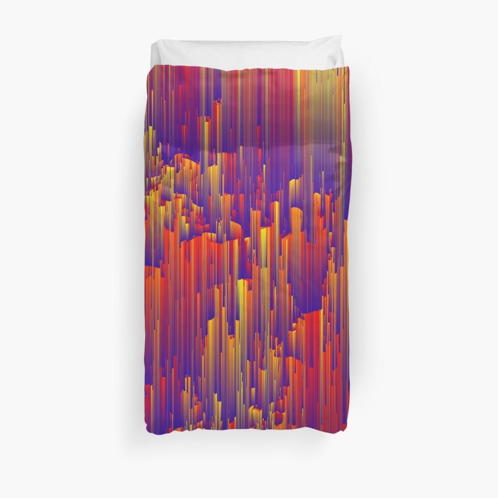 Fiery Rain - Pixel Abstract Art Duvet Cover
