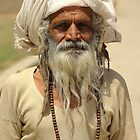 Beggar, Monkey Temple, Jaipur, India. by John Mitchell