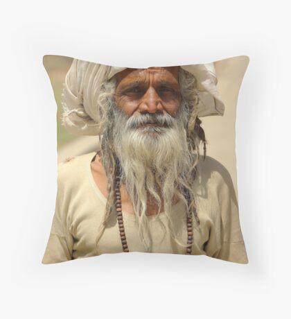 Beggar, Monkey Temple, Jaipur, India. Throw Pillow
