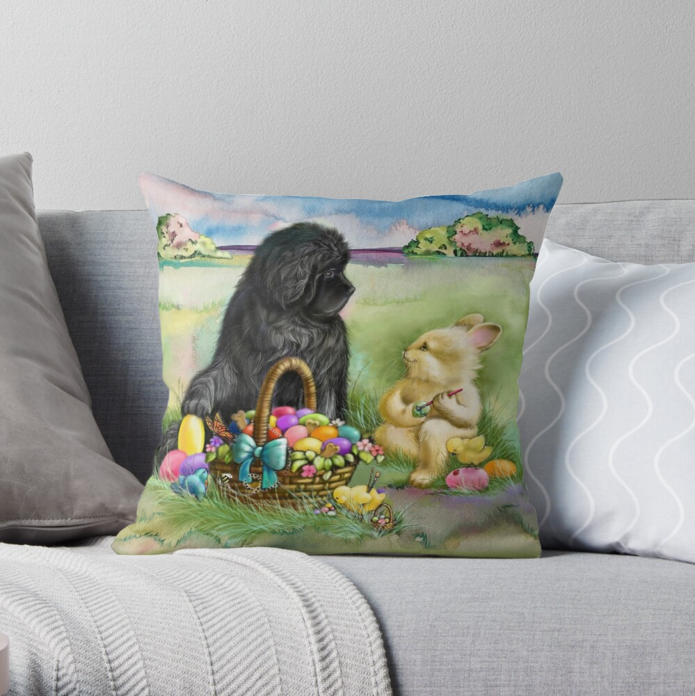 Easter Bunny Newfie And Chicks Throw Pillow By Patriciaeubank Redbubble