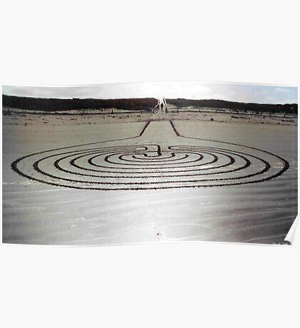 labyrinth, sandart. new brighton, aotearoa Poster