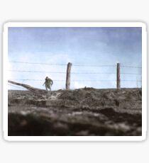 82nd running to a trench, Belgium, 1944. Sticker
