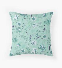 Beautiful Blooms Seamless Pattern on Teal Floor Pillow