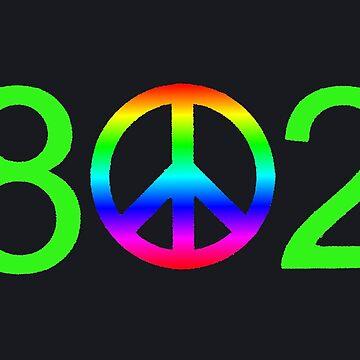 Vermont 802 Neon Green Peace Area Code by alittlebluesky