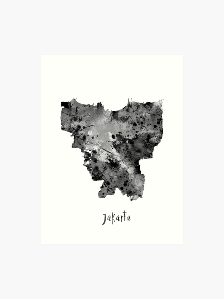Jakarta-Karte, Jakarta, Jakarta-Druck, Aquarell Jakarta   Kunstdruck