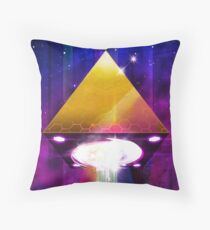 Abduction (Tetra) - Retrowave Synth UFO Illuminati  Throw Pillow