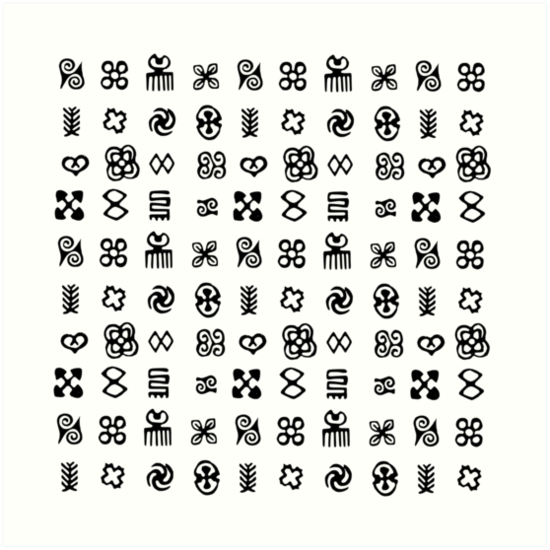 adinkra symbols from west africa art prints by almdrs redbubble