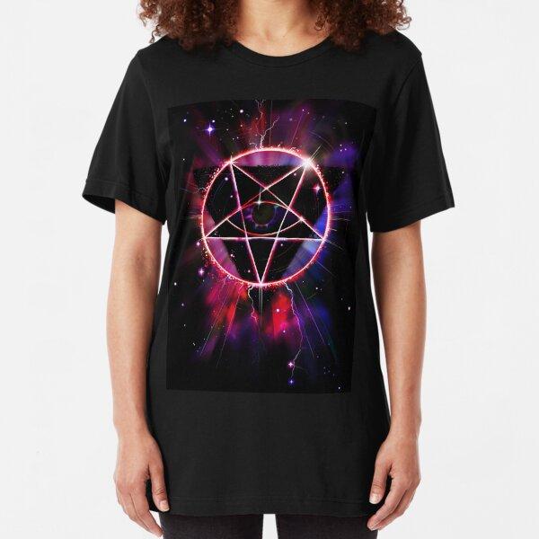 Space Demon 2049 - Evil Synthwave Sigil Slim Fit T-Shirt