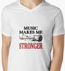 "Musically t-shirt bass guitar art ""Music makes me stronger"" Men's V-Neck T-Shirt"