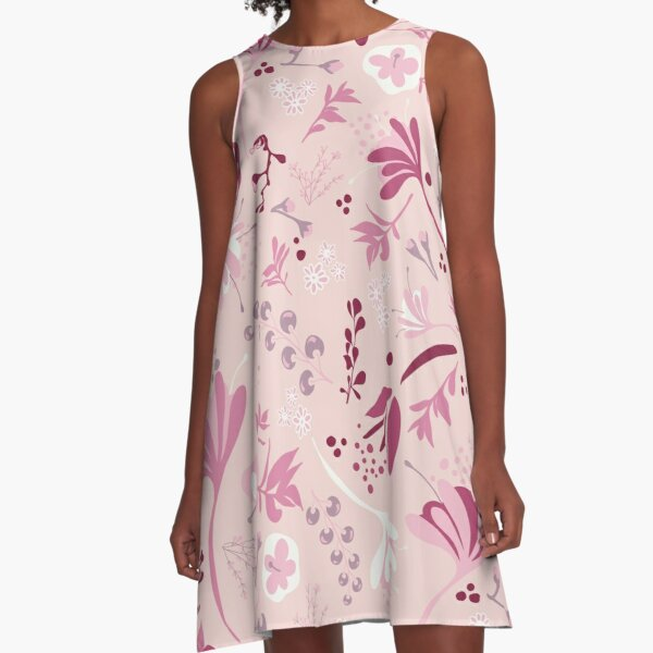 Beautiful Blooms Seamless Pattern on Pink A-Line Dress