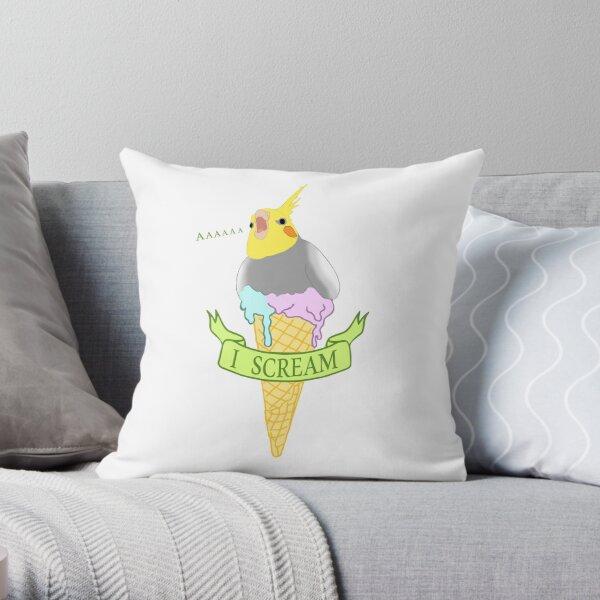 I scream - ice cream cockatiel Throw Pillow