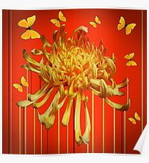 YELLOW SPIDER MUM & BUTTERFLIES ORANGE ART Poster