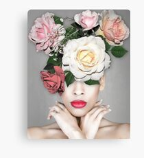 FLORAL PORTRAIT Woman with red lips and flowers Canvas Print
