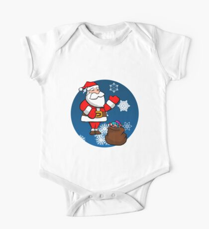 Cute Christmas Santa- Snowy Background Kids Clothes