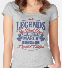 Legends the real ones are born in march 1958 Women's Fitted Scoop T-Shirt