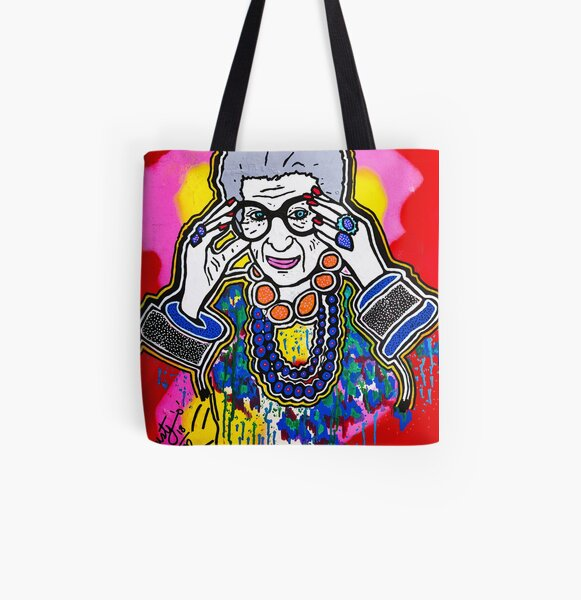 The Iris Apfel Merchandise Collection by Dusty O All Over Print Tote Bag