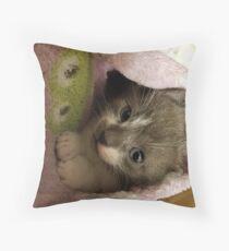 Adorable grey kitty  Throw Pillow