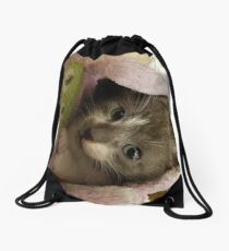 Adorable grey kitty  Drawstring Bag