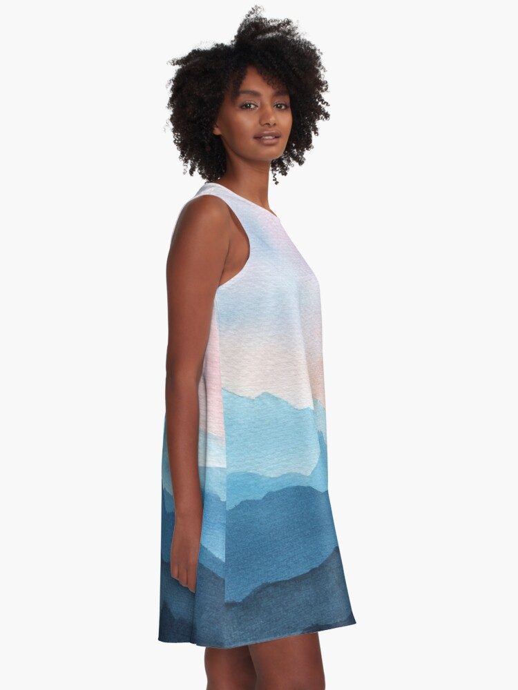 Alternate view of Blue Abstract Mountains A-Line Dress