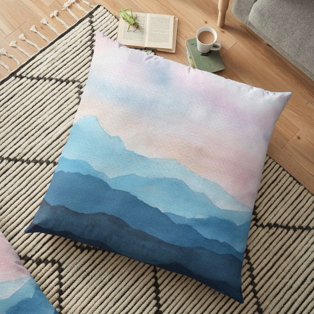 Blue Abstract Mountains Floor Pillow
