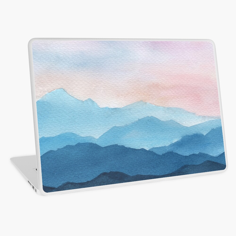 Blue Abstract Mountains Laptop Skin