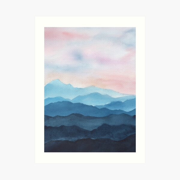 Blue Abstract Mountains Art Print