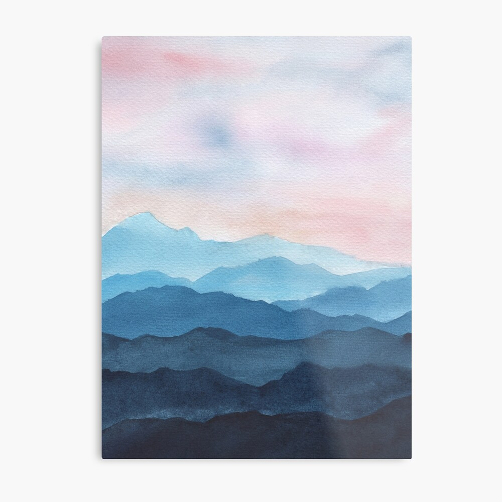 Blue Abstract Mountains Metal Print