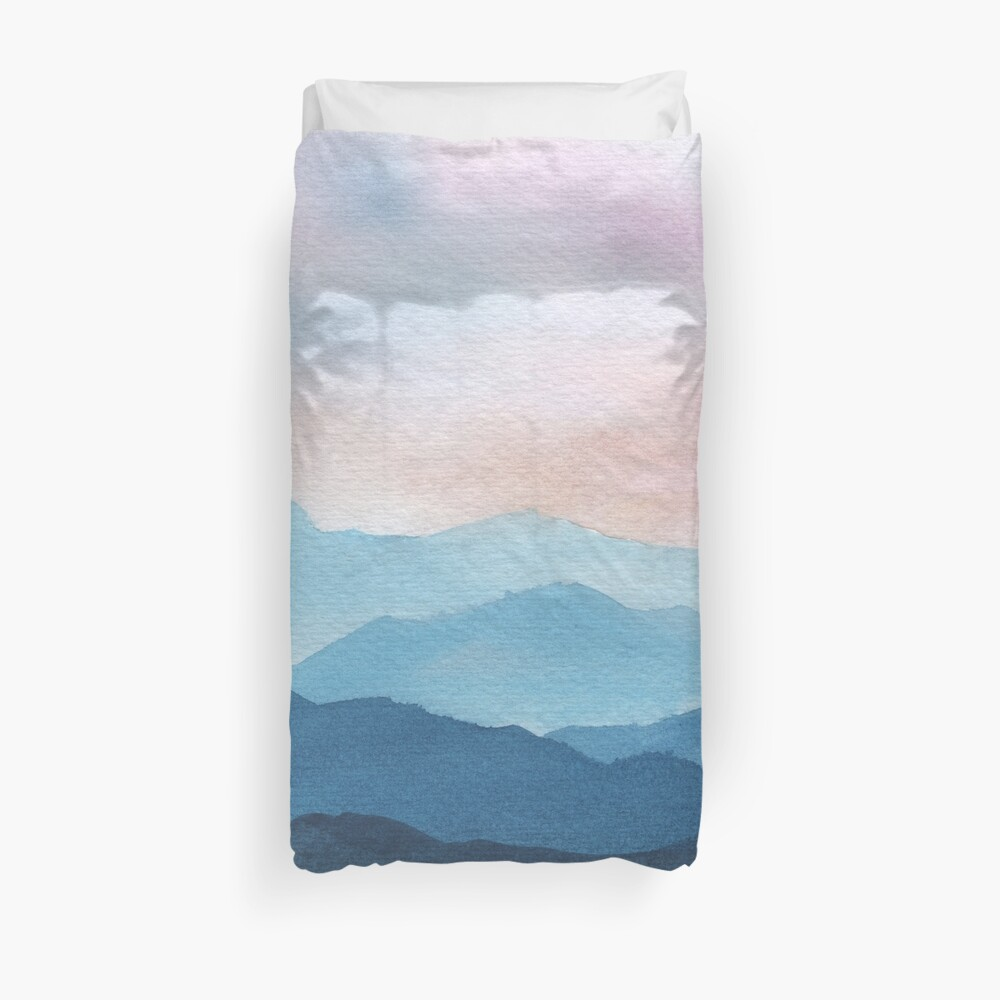 Blue Abstract Mountains Duvet Cover