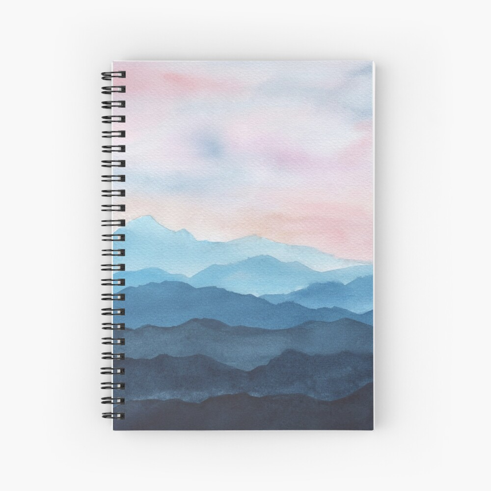 Blue Abstract Mountains Spiral Notebook