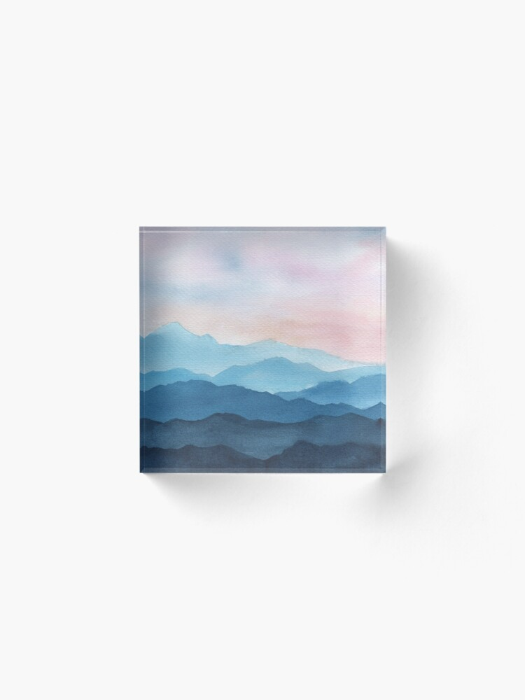 Alternate view of Blue Abstract Mountains Acrylic Block