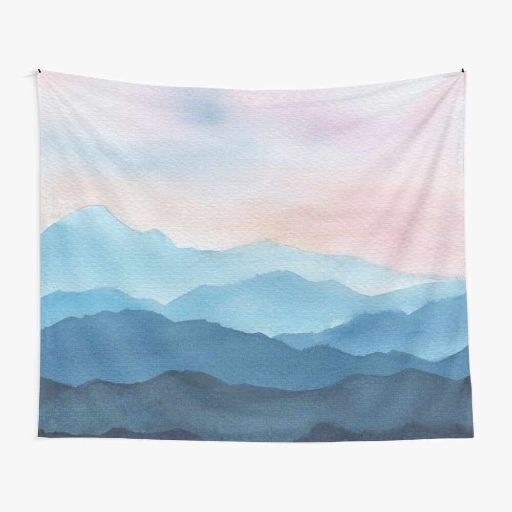 Blue Abstract Mountains Wall Tapestry