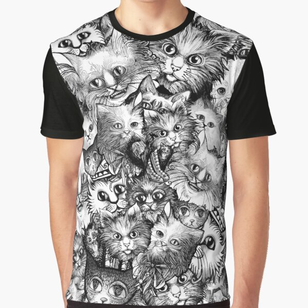 Cute Strange Creepy Weird Cat Pattern Graphic T-Shirt