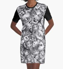 Cute Strange Creepy Weird Cat Pattern Graphic T-Shirt Dress
