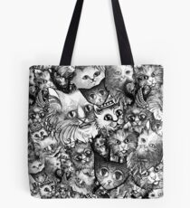 Cute Strange Creepy Weird Cat Pattern Tote Bag