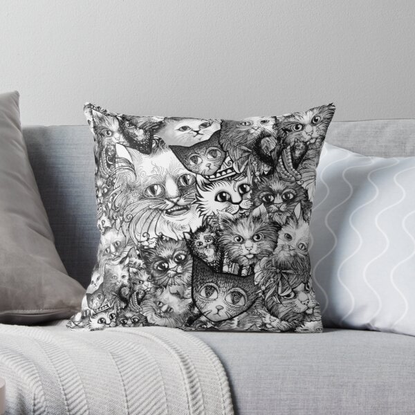 Cute Strange Creepy Weird Cat Pattern Throw Pillow