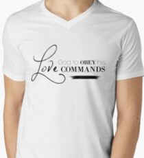 1John 5:3 For our love for God means that we obey his commands.Christian Bible Verse Men's V-Neck T-Shirt
