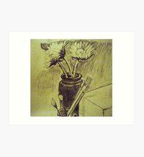 Sunflowers and Brushes Art Print
