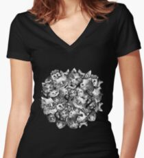 Cute Strange Creepy Weird Cat Pattern Fitted V-Neck T-Shirt