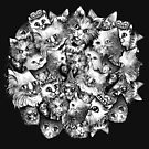 Cute Strange Creepy Weird Cat Pattern by Anna Oparina
