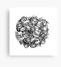 Cute Strange Creepy Weird Cat Pattern Metal Print
