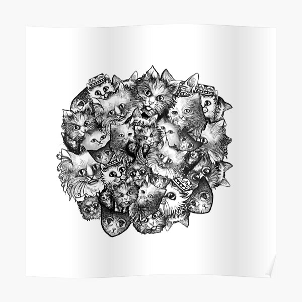 Cute Strange Creepy Weird Cat Pattern Poster
